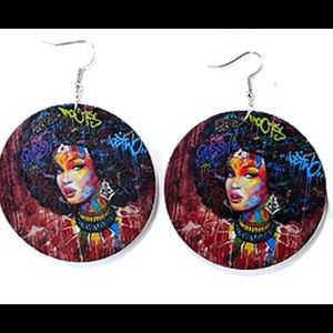WOODEN AFROCENTRIC EARRINGS NWOT